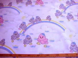 7am Kindertafelzeil 3 Wit/grijs met regenboog en kuikens 2522