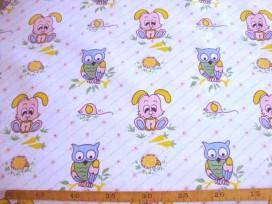 7aj Kindertafelzeil 6 Wit met schuine streep en verschillende dieren 2525
