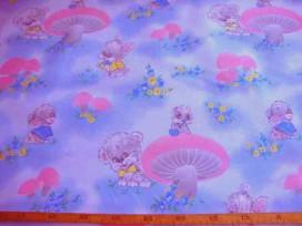 Kinder tafelzeil  Lichtblauw gevlekt met paddestoel en beestjes