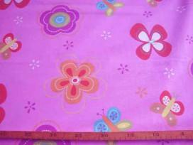 2za Roze met grote bloem en print Froukje roze 2.60 mtr.br. 7827