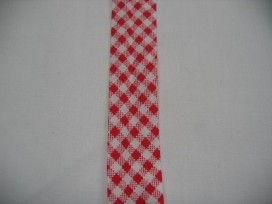 Rood geblokt biaisband. 100% katoen 2 cm. breed