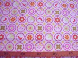 Wit lakenkatoen met kleine cirkels met print roze/oranje 2.60 breed