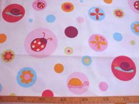 2zc Witte katoen met cirkels en beestjes roze/oranje 2.10 mtr. br. 7836