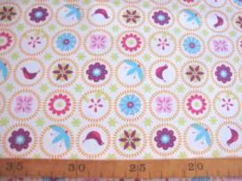Wit lakenkatoen met kleine cirkels en print oranje/paars. 2.10 breed