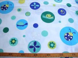 Wit lakenkatoen met cirkels en beestjes Aqua/blauw 2.10 breed