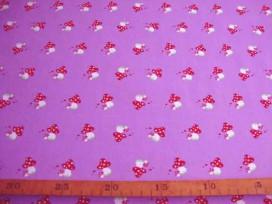 Een paarse katoen met paddestoeltjes  100% katoen  1.40 mtr.br.  Nu van 14,95 voor 9,95 Op is op