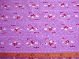 Een paarse katoen met paddestoeltje en stipjes.  100% katoen  1.40 mtr.br.  Nu van 14,95 voor 9,95 Op is op