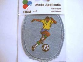9m Applicatie Jeans ovaal met voetballer 3025