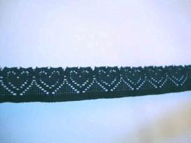 Elastisch kant met hartjes Zwart 20mm.