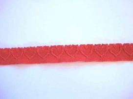 Elastisch kant met hartjes Rood 20mm.