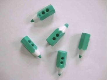 Kinderknoop potlood. Groen kunststof potloodknoopje. 20x5mm. doorsnee.