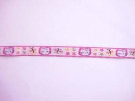 Sierband Zachtlila met paarse poes bloem en vlinder  12mm