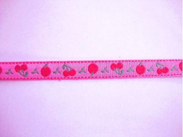 Sierbband Fruit Hardroze met rode appel en kers    10mm