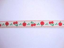 Sierband Fruit Offwhite met rode appel en kers    10mm