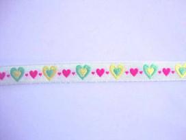 Sierband Hartjes Offwhite met geel lime pink hartjes 13mm