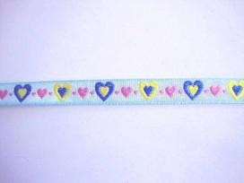 Sierband Hartjes lichtblauw met geel blauw en roze hartjes 13mm