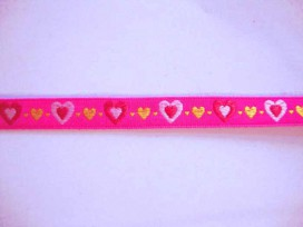 9c Sierband Hartjes Pink met roze rood en gele hartjes 542h