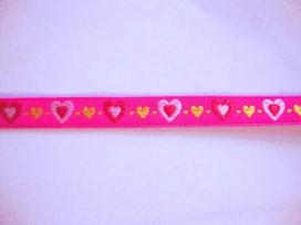 Sierband Hartjes Pink met roze rood en gele hartjes 13mm