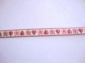 Sierband Hartjes Lichtzand met roze hartjes en bloem 10mm