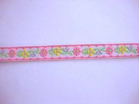 8z Sierband Bloem Wit met roze/gele bloem 12mm 340b