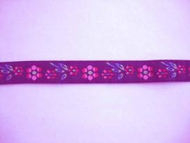 Sierband Bloem Donkerjeans met roze bloem 17mm