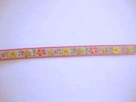 Sierband Bloem Lichtgrijs met een roze/gele bloem 10mm