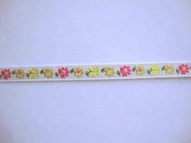 8r Sierband Bloem Wit met een roze/gele bloem 10mm 348b