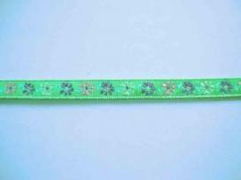 8p Sierband Bloem Groen met een paars/roze bloem 10mm 350b