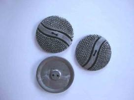 Grote zilverkleurige kunststof knoop met golf. 50 mm doorsnee