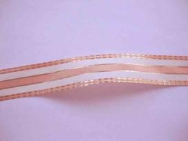 Sierband Zalm/offwhite streep met gouddraad 25mm