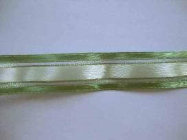 Sierband Oudgroen/ecru met goud/groene zilverdraad 25mm. 3823T