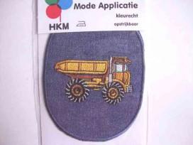 Applicatie jeans ovaal met vrachtwagen