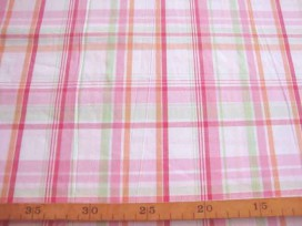 9k Katoen ruit Wit/roze 1130-11N