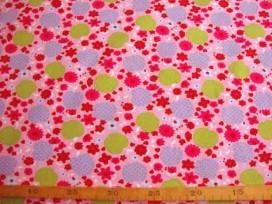 9b Poplin N Roze met appel en bloem 306-12N