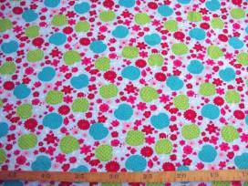 9f Poplin N Blauw met appel en bloem 306-2N