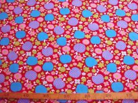 9i Poplin N Rood met appel en bloem 306-15N