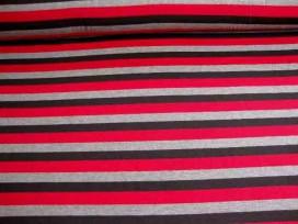 6a Tricot streep Rood/grijs/zwart Breed 1648-16N