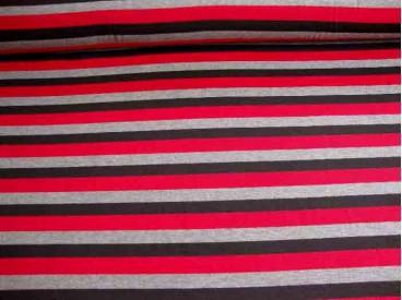 Tricot streep Rood/grijs/zwart Breed 1648-16N