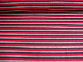 Tricot streep Rood/grijs/zwart 1647-16N