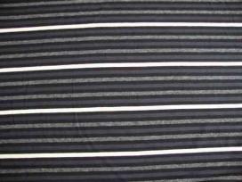 Tricot streep 2 kleurig grijs/zwart/offwhite 1548-69N