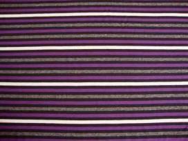 Tricot streep Zwart/paars/grijs/offwhite 1548-45N