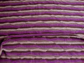 Tricot streep Paars/zwart/grijze golf met gaatjes 1588-45N