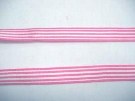 8xc Gestreept sierlint Roze/wit