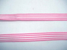 Roze/wit gestreept sierlint van 9 mm. breed.