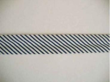 Gestreept zwart/wit biaisband van 2 cm. breed.