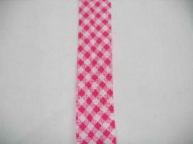 Pinkkleurig geblokt biaisband. 100% katoen 2 cm. Breed