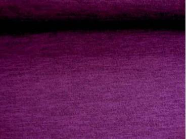 Een soepelvallende, gemeleerde en gebreide paarse tricot.  95%pl./5%sp.  1.50 mtr. br.