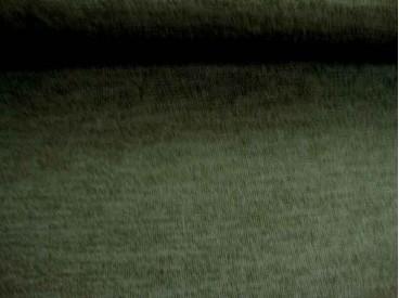 Een soepelvallende, gemeleerde en gebreide grijze tricot.  95%pl./5%sp.  1.50 mtr. br.