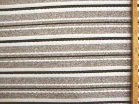 Een gebreide soepelvallende tricot met taupe/grijze breedtestreep. Voelt aan als katoen.  100% polyester  1.40 mtr.br.