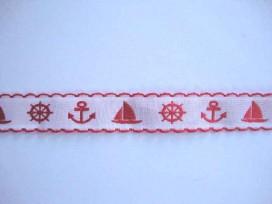 Hollands sierband Wt met rood anker en boot 356hb